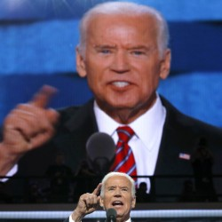 "Vice President Joe Biden speaks at the Democratic National Convention in Philadelphia on Wednesday. He blasted Trump for having ""no clue"" about what makes America great."