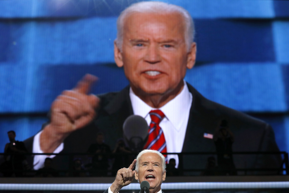 """Vice President Joe Biden speaks at the Democratic National Convention in Philadelphia on Wednesday. He blasted Trump for having """"no clue"""" about what makes America great."""
