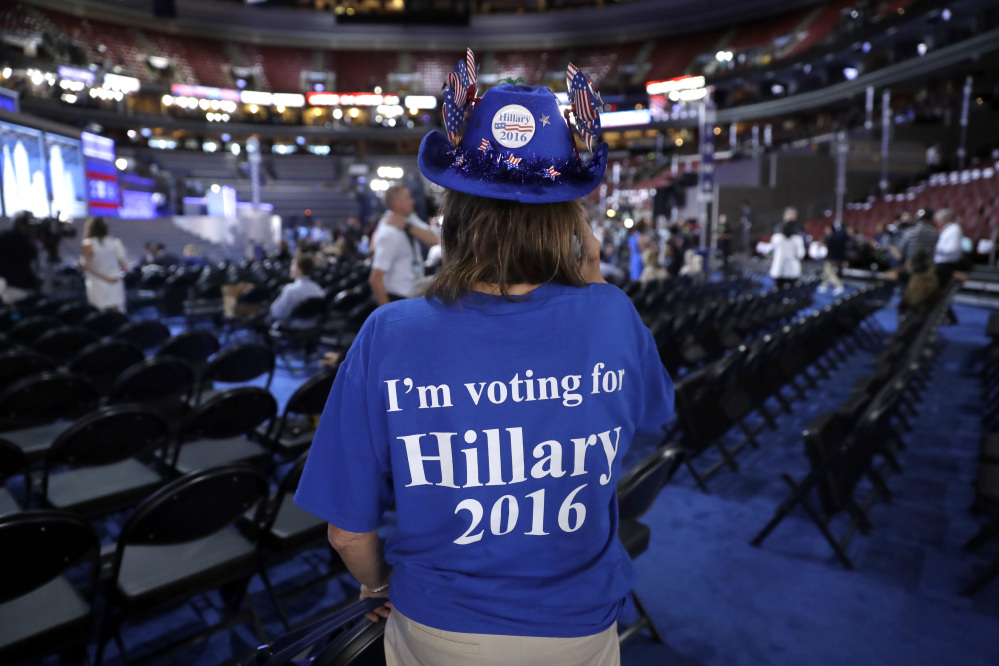 Florida delegate Dianne Krumel, of Pensacola, shows her support for Democratic Presidential candidate Hillary Clinton before the start of the third day session of the Democratic National Convention in Philadelphia on Wednesday.