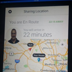 An app in the truck of Comcast technician John Buote shows the route to a customer's house in Lincoln, Mass. A customer can use a mobile app to also see where the technician is.