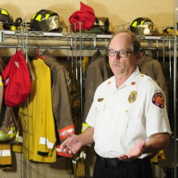 Hallowell Fire Chief Mike Grant talks about the plans for the department on Wednesday at the fire station.