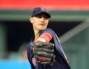 Boston's Rick Porcello pitches to the Angels in the first inning Friday night in Anaheim, Calif. Porcello pitched a complete game as the Red Sox won, 6-2.