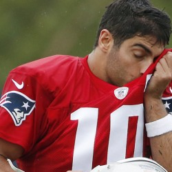 Patriots quarterback Jimmy Garoppolo tries to keep cool during practice Friday. Garoppolo is preparing to be the starter for the first four games of the season while Tom Brady serves a suspension.