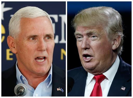Indiana Gov. Mike Pence, left, and Republican presidential candidate Donald Trump