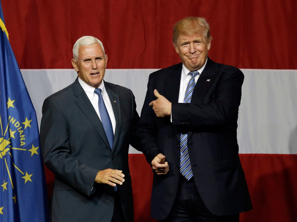 Indiana Gov. Mike Pence joins Republican presidential candidate Donald Trump at a rally in Westfield, Indiana, on July 14, 2016.