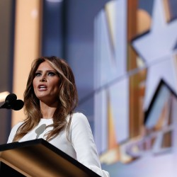 Melania Trump, wife of Republican Presidential Candidate Donald Trump, speaks during first day of the Republican National Convention in Cleveland on Monday. The speech was quickly followed by criticism that two passages were taken from Michelle Obama's Democratic convention speech in 2008.