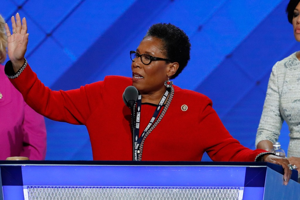 Rep. Marcia Fudge, D-Ohio, Chair, Democratic National Convention quiets the crowd during before the convention is gaveled in.