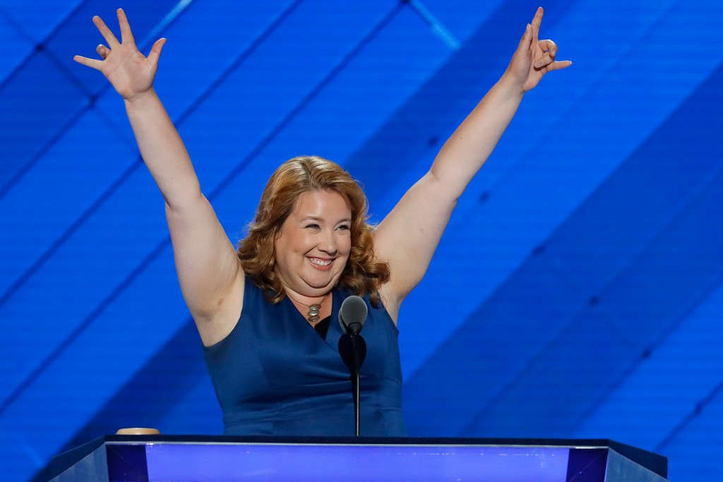 Maine State Rep. Diane Russell speaks during the first day of the Democratic National Convention in Philadelphia.