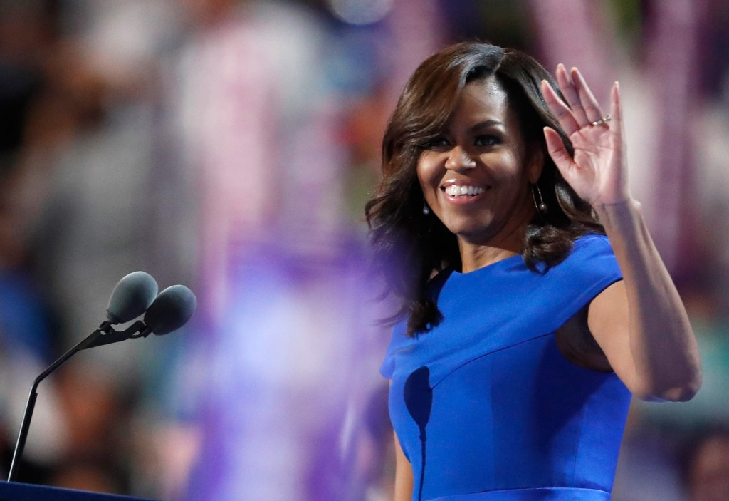 First Lady Michelle Obama takes the stage in Philadelphia.