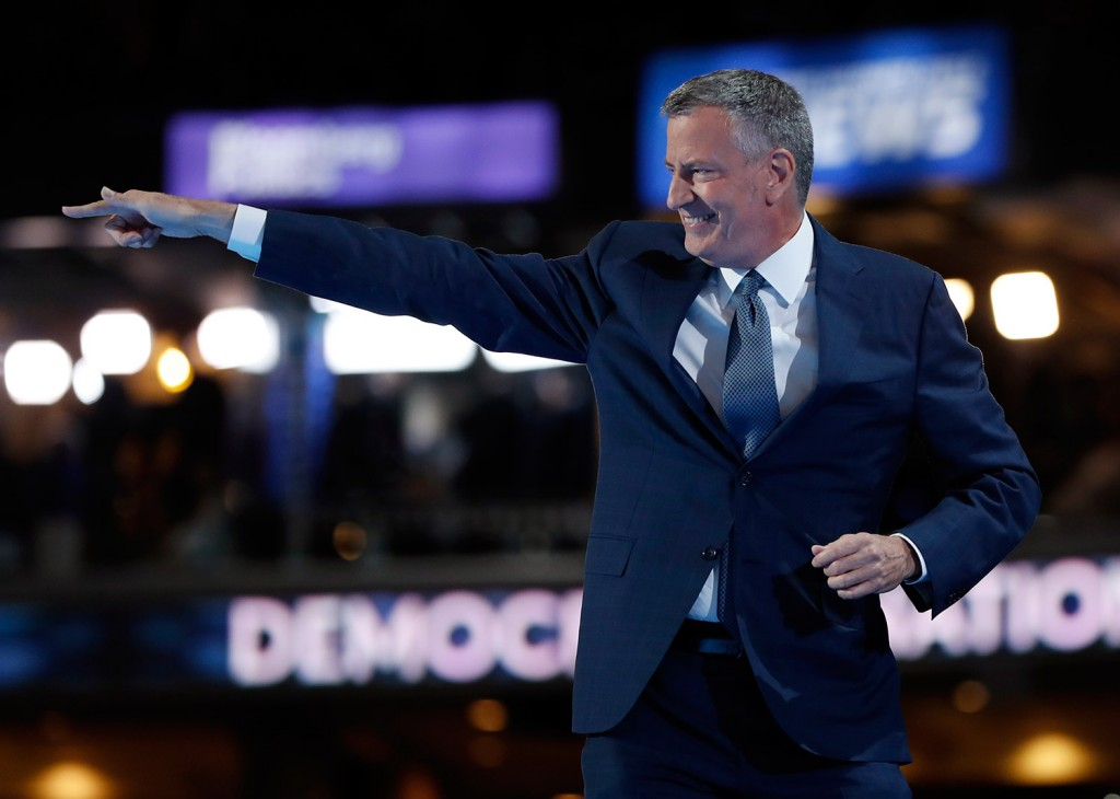 Mayor Bill de Blasio, of New York, waves after speaking during the third day session of the Democratic National Convention in Philadelphia on Wednesday.