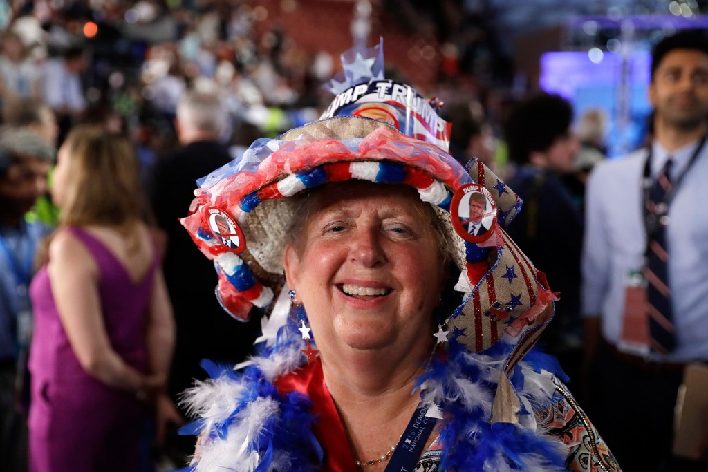 Connecticut delegate Audrey Blondin is bedecked in red, white and blue for the third day session of the Democratic National Convention in Philadelphia on Wednesday.