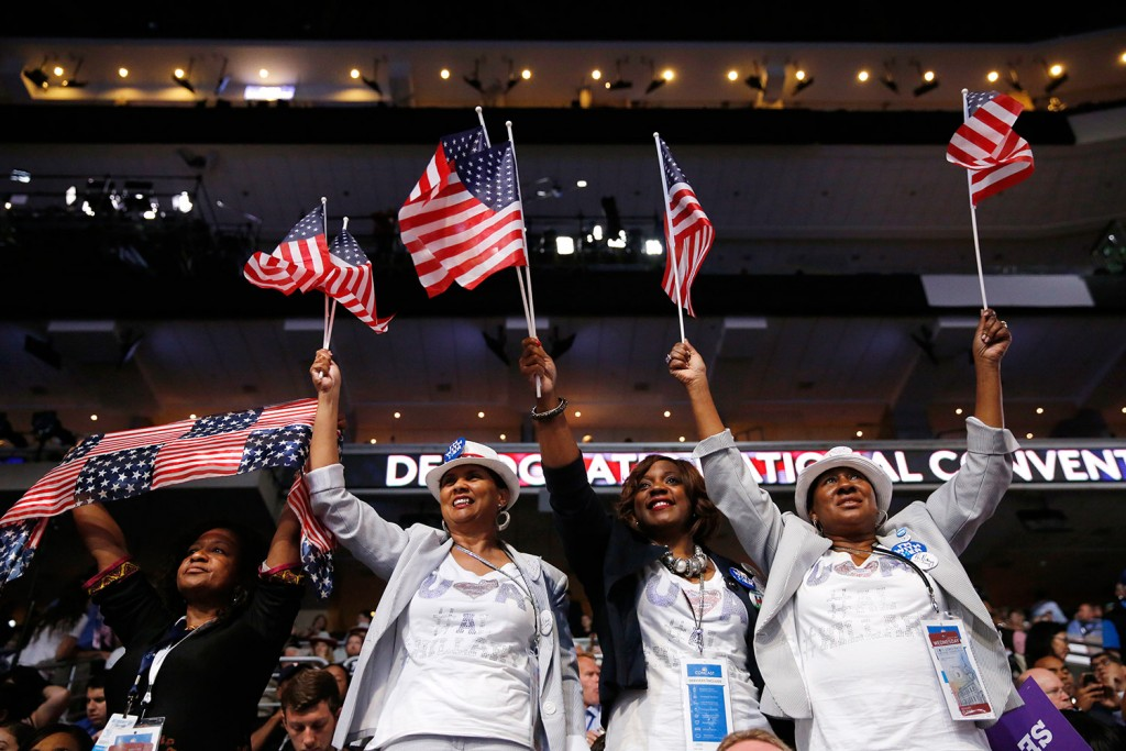 Alabama delegates cheer during the third day session of the Democratic National Convention in Philadelphia on Wednesday.