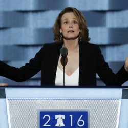 Actress Sigourney Weaver speaks during the third day of the Democratic National Convention in Philadelphia on Wednesday.