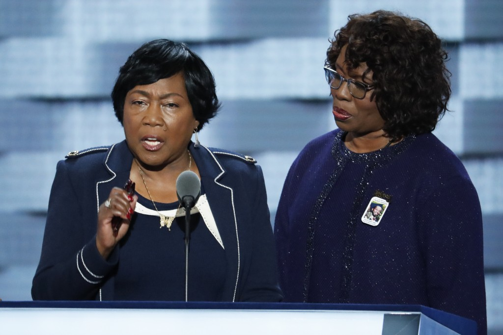 Felicia Sanders and Polly Sheppard, survivors of the Mother Emanuel Church shooting in Charleston, SC., speak during the third day of the Democratic National Convention in Philadelphia , Wednesday, July 27, 2016.