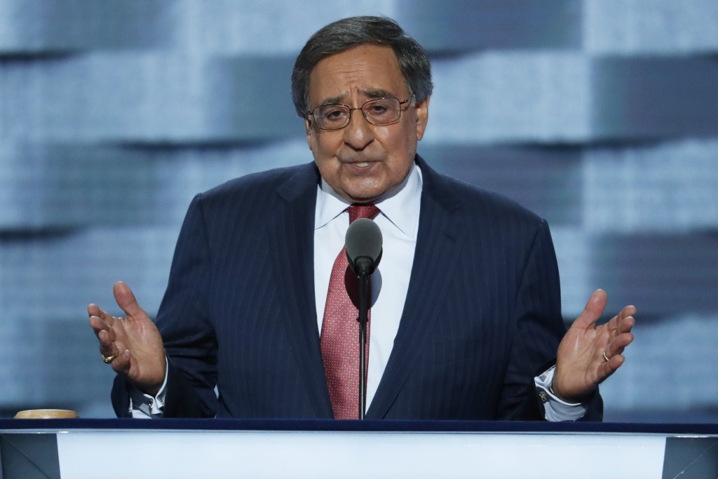 Former Defense Secretary Leon Panetta speaks during the third day of the Democratic National Convention in Philadelphia , Wednesday, July 27, 2016.