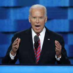 Vice President Joe Biden speaks during the third day of the Democratic National Convention in Philadelphia, Wednesday, July 27, 2016.