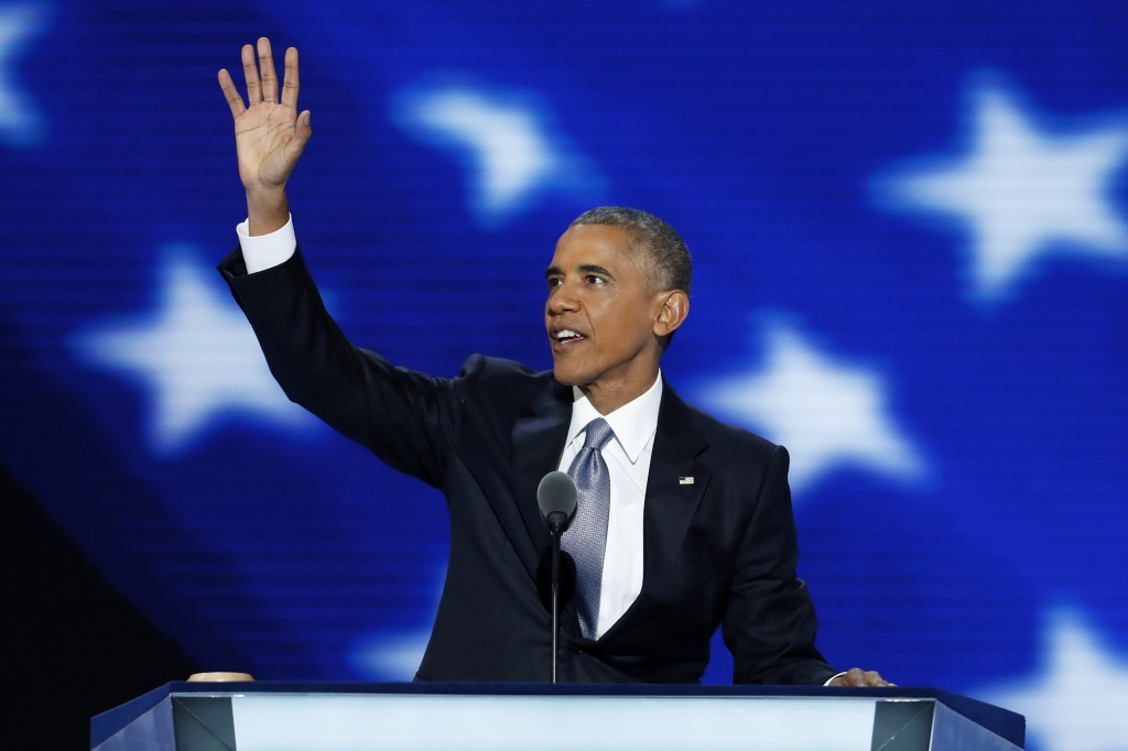 President Barack Obama waves to the delegates before speaking during the third day of the Democratic National Convention in Philadelphia on Wednesday, July 27, 2016.