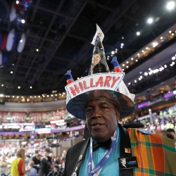 Virgin Islands delegate Edgar Phillips arrives at Wells Fargo Arena before the start of the final day of the Democratic National Convention in Philadelphia on Thursday.