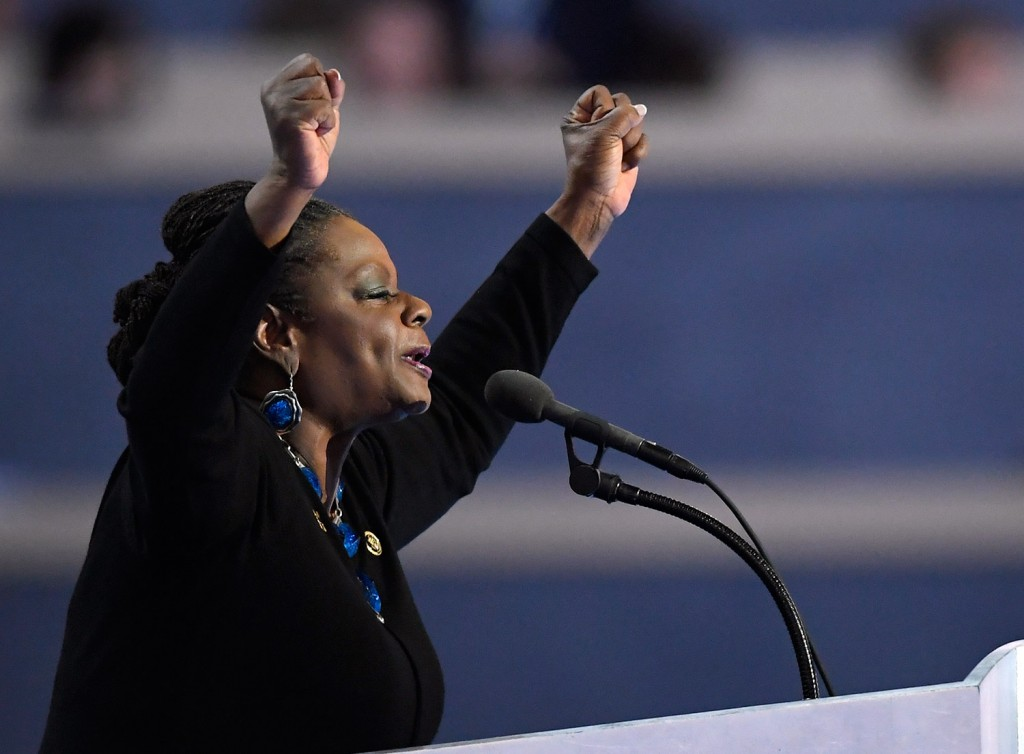 Rep. Gwen Moore, D-Wisc. speaks during the final day of the Democratic National Convention in Philadelphia on Thursday.