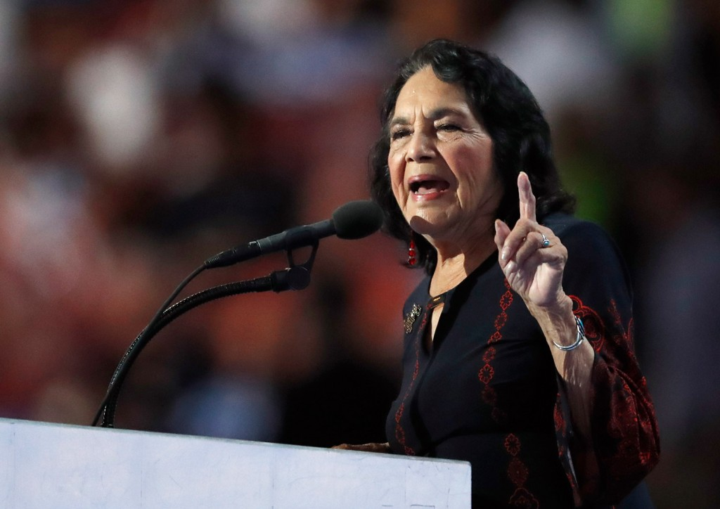 Civil rights leader Dolores Huerta speaks during the final day of the Democratic National Convention in Philadelphia on Thursday.