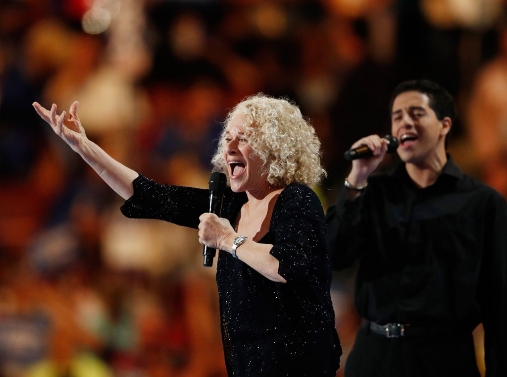 Singer Carole King performs during the final day of the Democratic National Convention in Philadelphia on Thursday.
