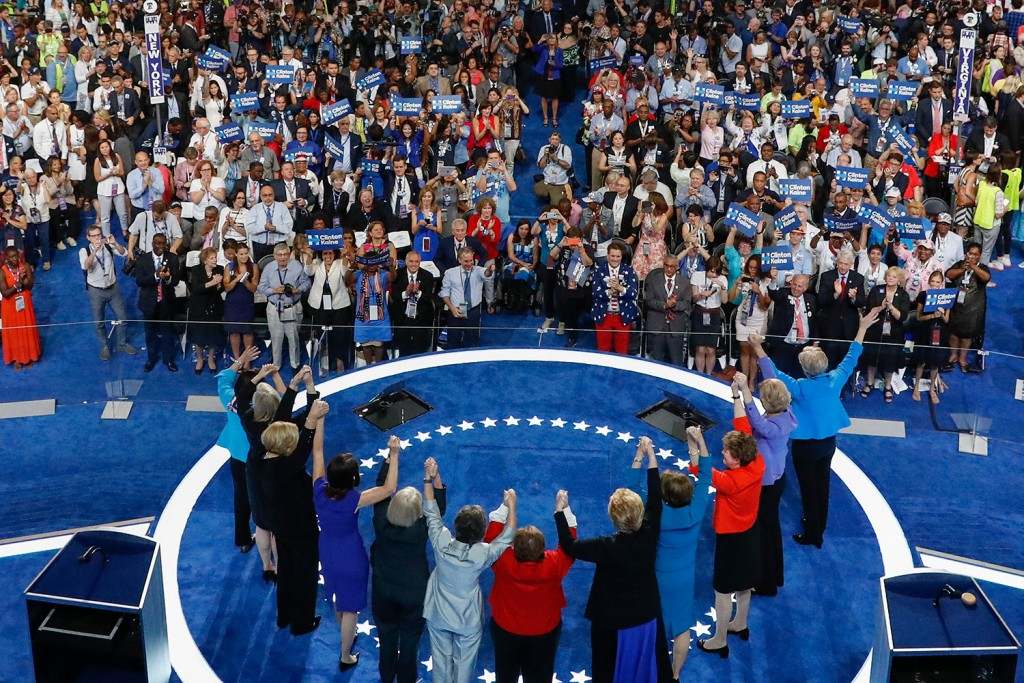The Democratic women of the U.S. Senate wave to delegates during the final day of the Democratic National Convention in Philadelphia on Thursday.
