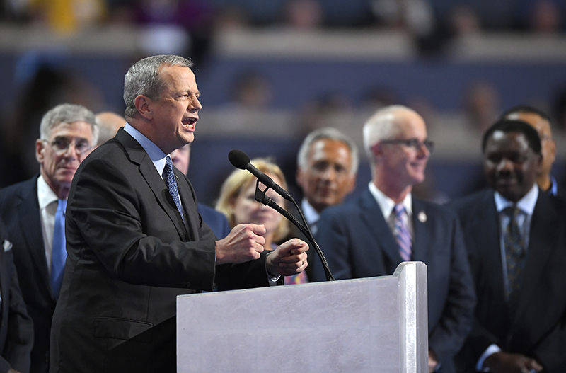 Retired U. S. Marine Corps four-star Gen. John Allen speaks during the final day of the Democratic National Convention.
