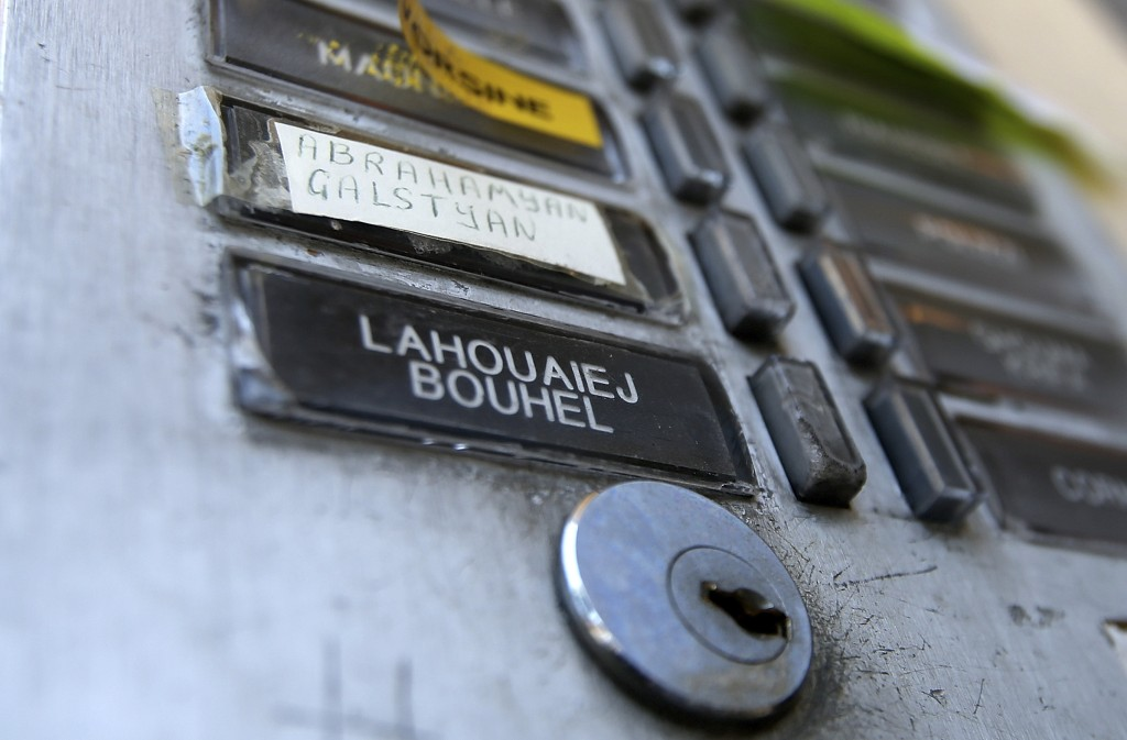 An intercom plate shows the name of Mohamed Lahouaiej Bouhlel outside the building where he lived in Nice, France, on Saturday.