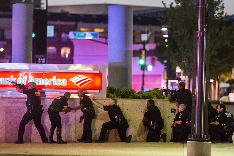 Dallas police respond after shots were fired Thursday at the protest in downtown Dallas. The attack was the deadliest on U.S. police since 9/11.
