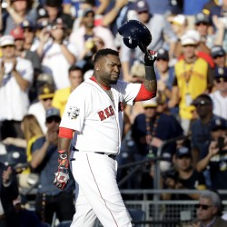 David Ortiz tips his cap as he leaves the game in the third inning.    Associated Press/Gregory Bull