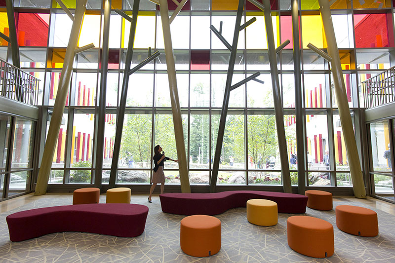 The lobby of the new Sandy Hook Elementary School.