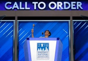Baltimore Mayor Stephanie Rawlings-Blake raises the gavel as she calls the convention to order during the first day of the Democratic National Convention in Philadelphia on Monday.