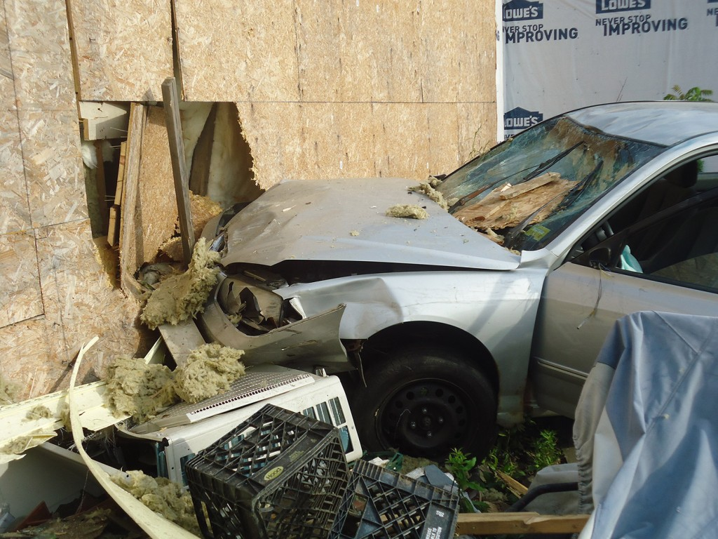 A Bath woman lost control of her car and ended up hitting this building Thursday evening. Photo courtesy Brunswick Police Department