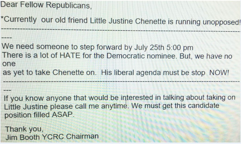 The email that went out to York County Republicans.