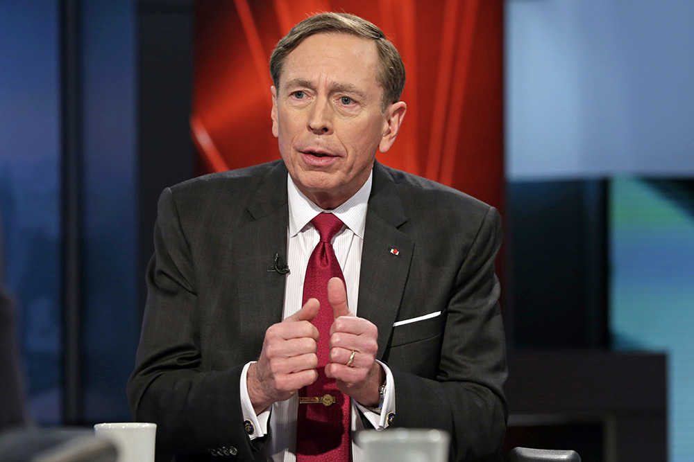 Former CIA Director and retired Gen. David Petraeus is interviewed in New York in March 2016. Prosecutors say that after resigning from the CIA in November 2012, Petraeus signed a form falsely attesting he had no classified material.