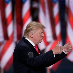 """Donald Trump told the crowd at the Republican National Convention on Thursday night that, as president, he would lead a country of """"law and order."""""""
