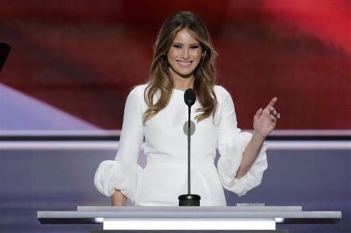 Melania Trump addresses the Republican National Convention  on Monday. The section of her speech that was identical to words spoken by Michelle Obama came near the beginning of her roughly 10-minute speech. Scott Applewhite /Associated Press