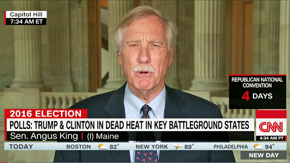"""We went up, took off across the country, and then had a nuclear attack exercise where an Air Force officer played the president,"" Sen. Angus King told CNN's Chris Cuomo on ""New Day""  Thursday morning. ""What got me, Chris, was . . . there's no checks and balances. There's no Congress. There's no Supreme Court. There's no consultation. There's one person making a decision about the future of civilization."""
