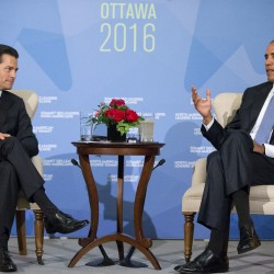 President Barack Obama and Mexican President Enrique Pena Neito talk during their bilateral meeting in Ottawa, Canada, on June 29, 2016. Pablo Martinez Monsivais/Associated Press