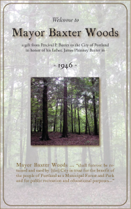 Mayor Baxter Woods was given to the city of Portland by Percival P. Baxter.