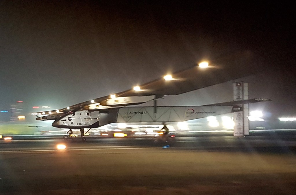 The Solar Impulse 2 plane lands in an airport in Abu Dhabi, United Arab Emirates, early Tuesday, marking the historic end of the first attempt to fly around the world without a drop of fuel, powered solely by the sun's energy.
