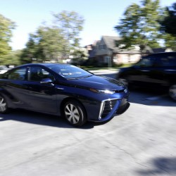 The 2016 Toyota Mirai, a hydrogen fuel cell vehicle.