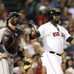 David Ortiz watches his three-run home run during the third inning of Detroit's 9-8 win Tuesday.    Associated Press/Charles Krupa