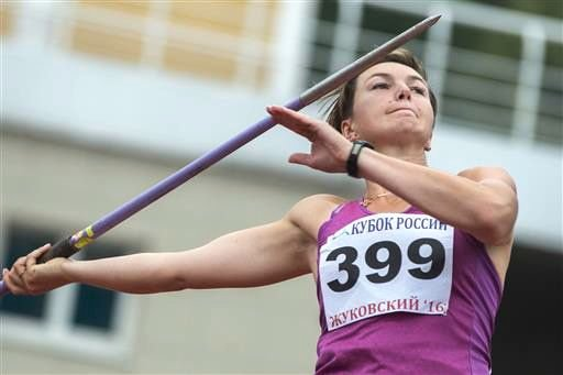 Russian javelin thrower Vera Rebrik competes in the Russian Cup athletics competition in Zhukovsky, near Moscow, Russia, Wednesday, a day before a sports court ruled rejected Russia's appeal against the ban on its track and field team from the Olympics in Rio. Associated Press