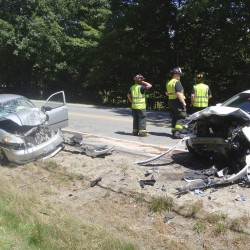 Police say seat belts likely saved the lives of the occupants of two vehicles that collided on Route 35 in Dayton when one driver crossed the centerline Tuesday.