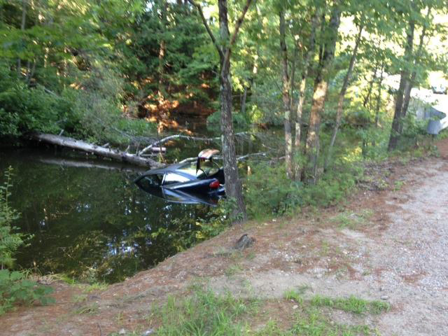 Scene of car that was pushed into the Middle Branch of the Mousam River.