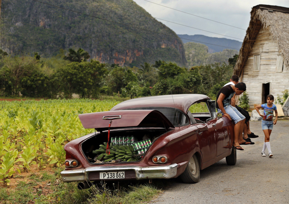 Parked along the side of a tobacco field in the valley of Vinales, Cuba, sits a 1950s vintage car with a trunk loaded with bananas and cerveza Cristal, a Cuban brand beer, on March 24. Al Diaz/Miami Herald/TNS