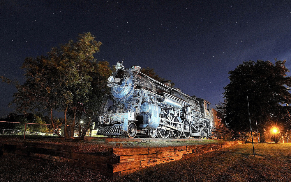 The Old 470 steam locomotive on College Avenue in Waterville, seen here in 2012, will be moved to Ellsworth next week, a project that's expected to take three days.