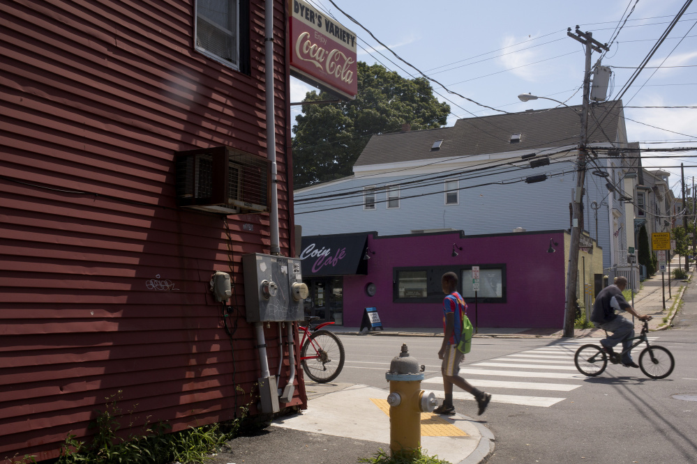 The corner of Hanover and Portland streets, near Dyer's Variety, left, in West Bayside, is a popular gathering spot for people hanging out on the streets, says resident Steve Hirshon.