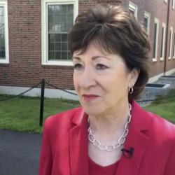 six lines please The announcement by U.S. Sen. Susan Collins, R-Maine, that she would not vote for Donald Trump, the Republican Party's nominee for president was met by mixed reactions in Maine. (Photo from WCSH Facebook video)
